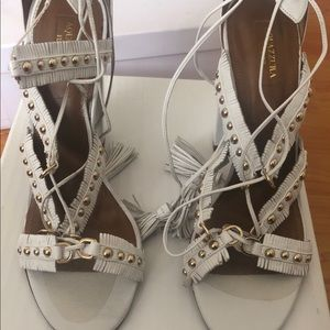 Aquazzura Tulum Fringed Leather Sandal, White 40